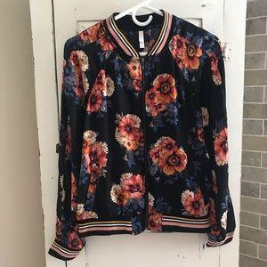 Xhilaration Floral Bomber Jacket Size M